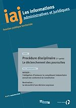 Download this eBook IAJ : Procédure disciplinaire (1re partie) : Le déclenchement des poursuites - septembre 2018