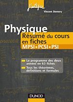 Téléchargez le livre numérique:  Physique Résumé du cours en fiches MPSI, PCSI - PSI