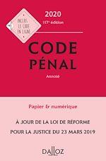 Téléchargez le livre :  Code pénal 2020, annoté - 117e éd.
