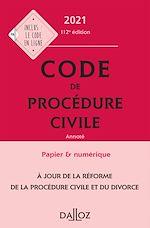 Téléchargez le livre :  Code de procédure civile 2021, annoté - 112e ed.