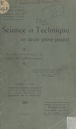 Download this eBook Science et technique en droit privé positif