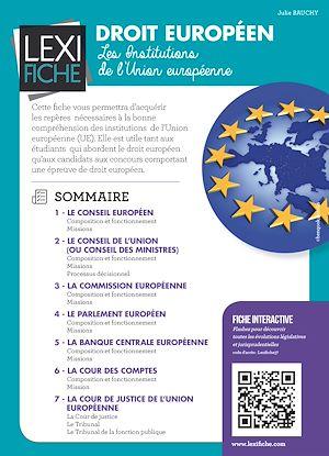 Téléchargez le livre :  Droit européen - Les institutions de l'Union Européenne