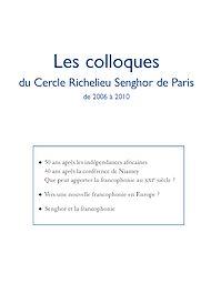 Téléchargez le livre :  Les colloques de 2006 à 2010