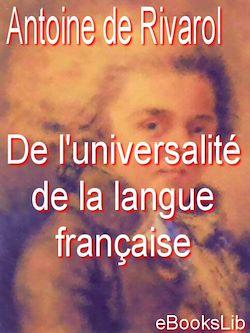 Téléchargez le livre numérique:  De l'universalité de la langue française