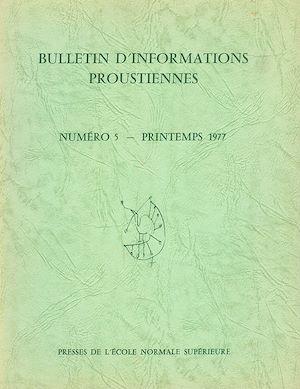 Téléchargez le livre :  Bulletin d'informations proustiennes n° 5