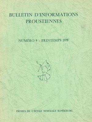 Téléchargez le livre :  Bulletin d'informations proustiennes n° 9
