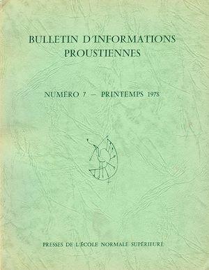 Téléchargez le livre :  Bulletin d'informations proustiennes n° 7