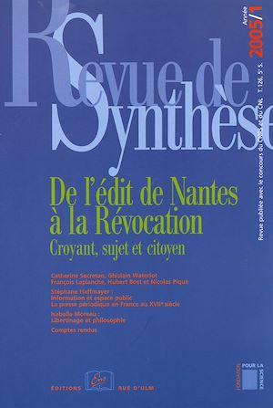 Téléchargez le livre :  De l'édit de Nantes à la Révocation