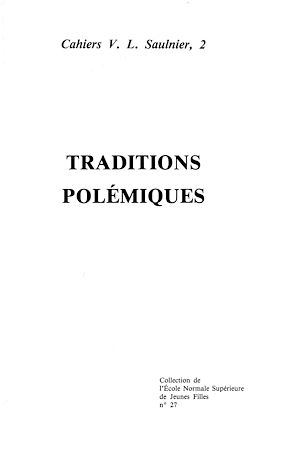 Téléchargez le livre :  Traditions polémiques