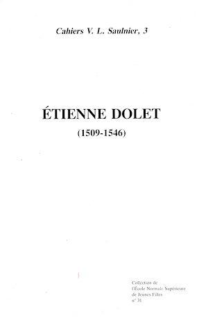 Téléchargez le livre :  Étienne Dolet (1509-1546)