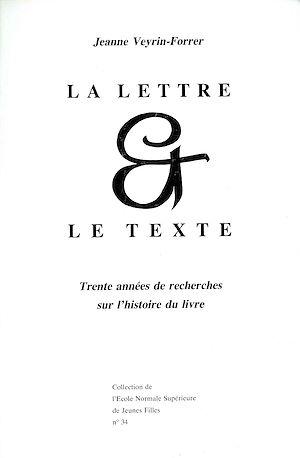 Téléchargez le livre :  La lettre et le texte