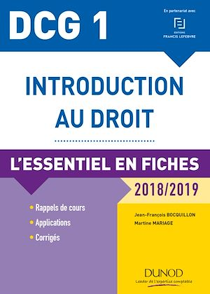 Téléchargez le livre :  DCG 1 - Introduction au droit - 2018/2019 - 9e éd.