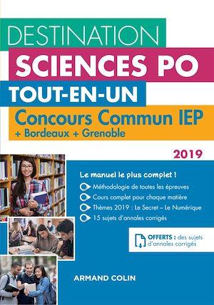 Téléchargez le livre :  Destination Sciences Po - Concours commun IEP 2019 + Bordeaux + Grenoble