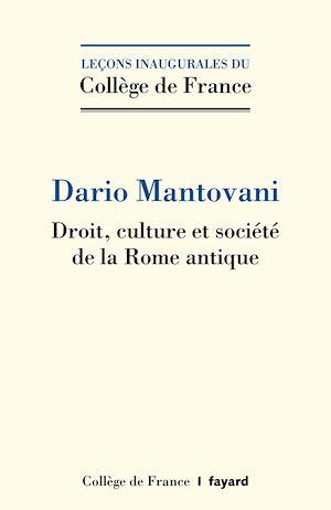 Téléchargez le livre :  Droit, culture et société de la Rome antique