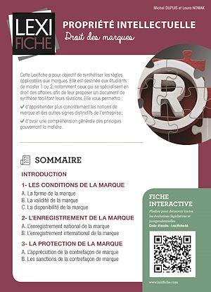 Téléchargez le livre :  Propriété intellectuelle - Droit des marques