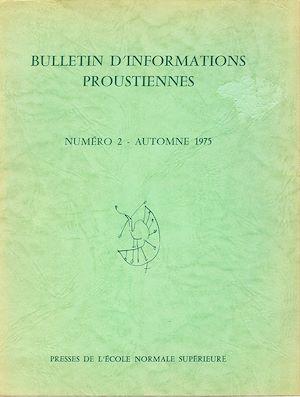Téléchargez le livre :  Bulletin d'informations proustiennes n° 2