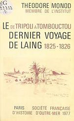 Télécharger cet ebook : De Tripoli à Tombouctou : Le Dernier Voyage de Laing (1825-26)