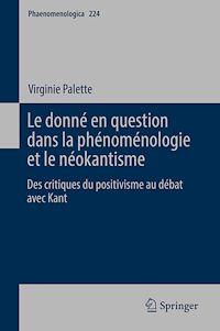 Télécharger le livre : Le donné en question dans la phénoménologie et le néokantisme